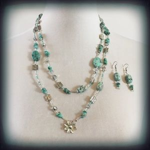 Jewelry - Vintage Turquoise & Silver Necklace & Earrings